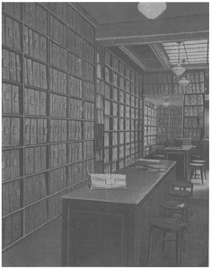 one of several reading rooms dedicated to subscription services at Fortin Music Lending Library in Paris,  pictured in catalog, 1933